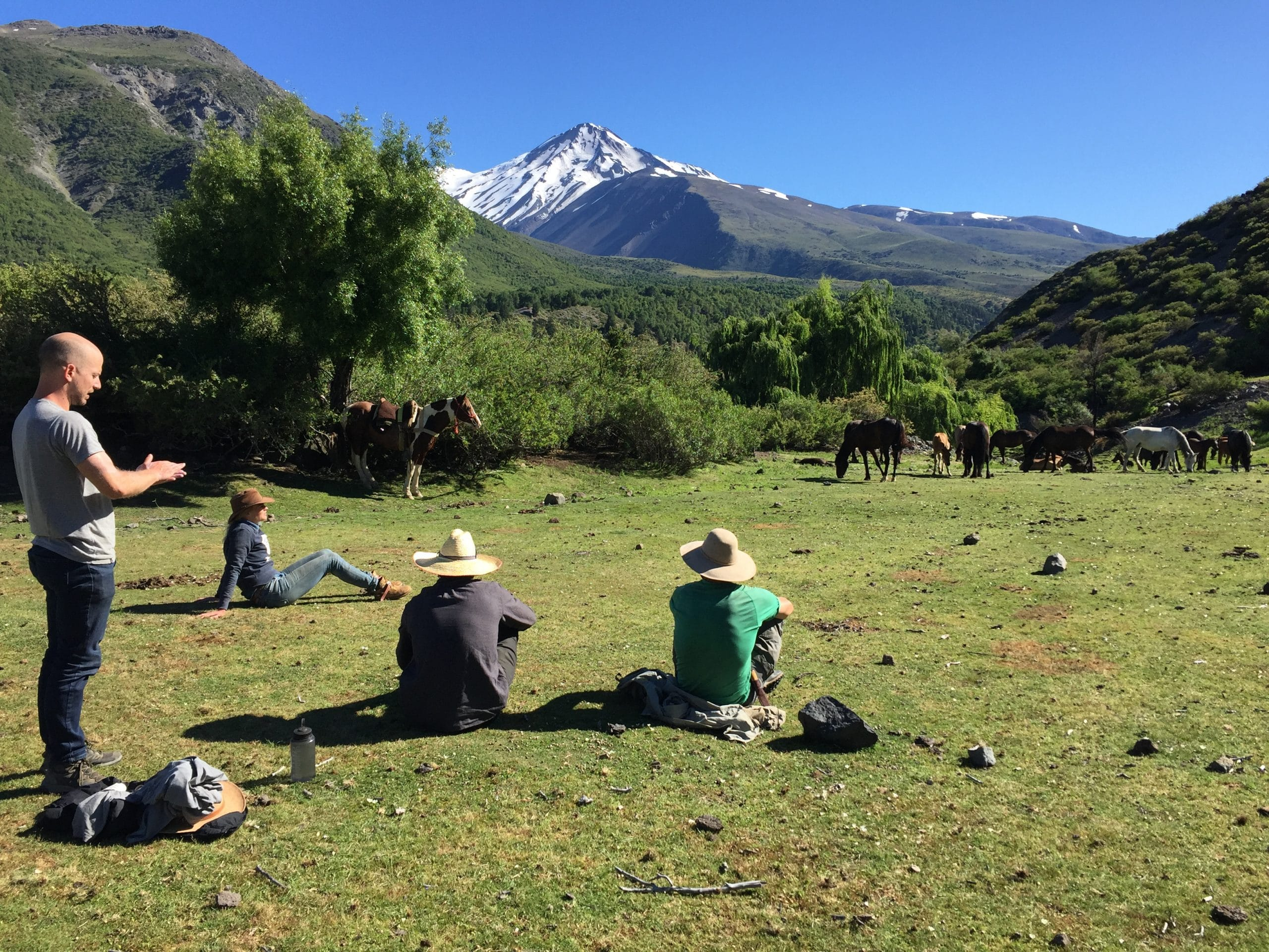Rast und Ausruhen in den Anden